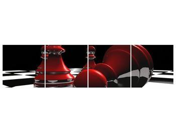 Obraz červených pěšců na šachovnici (F004102F16040)