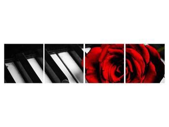 Zongora és egy rózsa képe (K011229K16040)