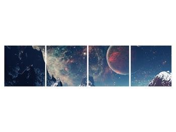 Tablou cu peisaj montan cu planete (K012168K16040)