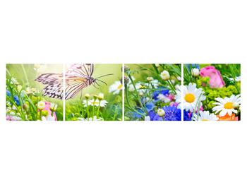 Obraz letných kvetov s motýľom (K012220K16040)