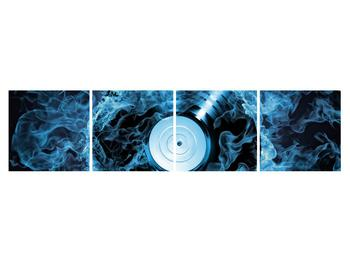 Tablou cu placă de gramofon în foc albastru (K014442K16040)