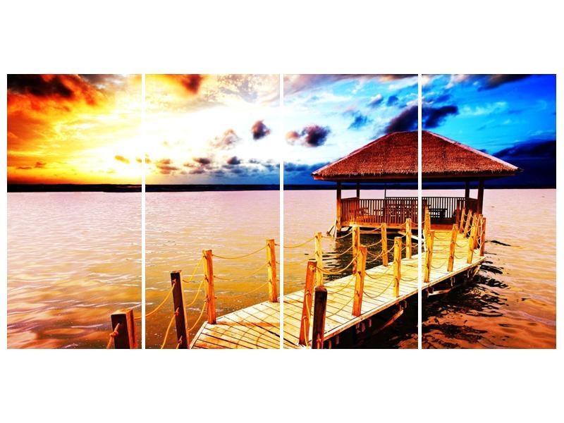 Obraz dřevěné přístavby na vodě (F002408F16080)