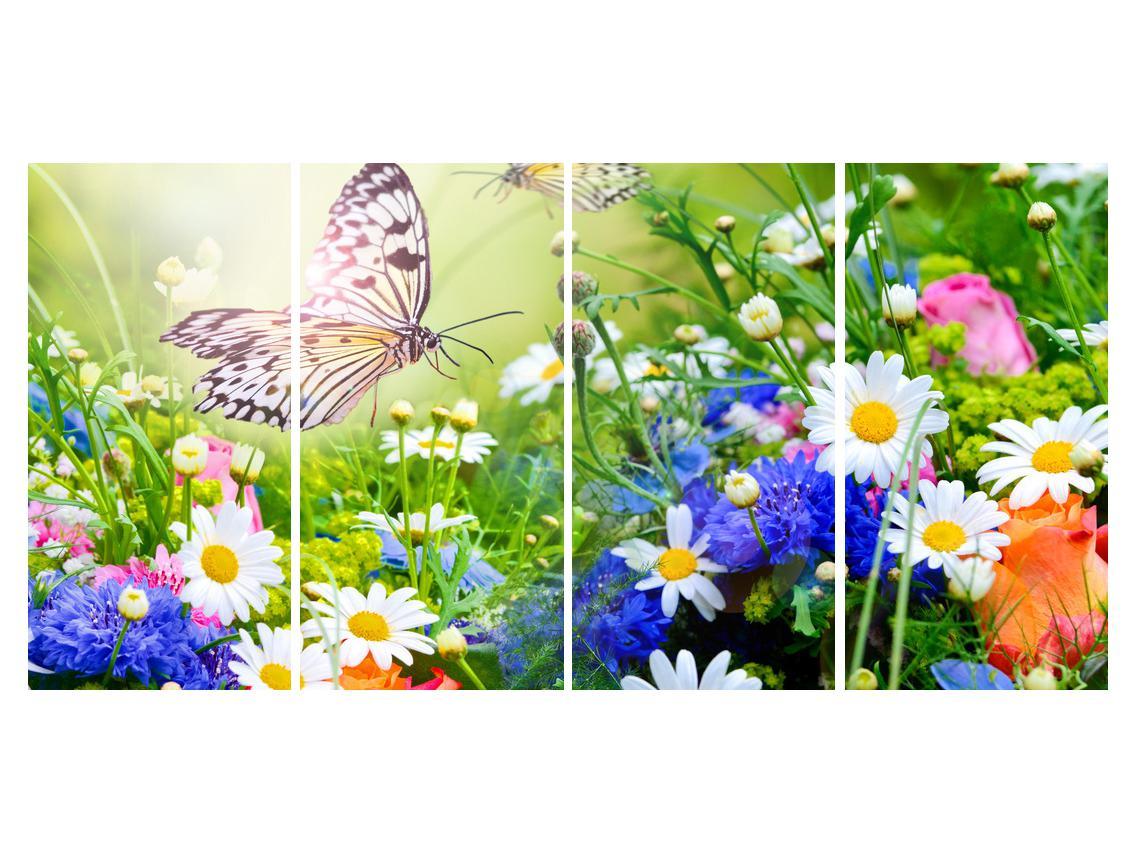 Slika poletnih cvetov z metuljem (K012220K16080)