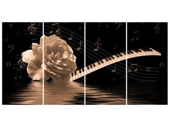 Černobílý obraz růže a klavíru (F001875F16080)