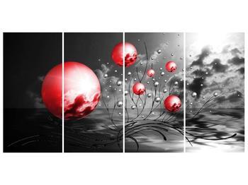 Moderní obraz - červené koule (F002086F16080)
