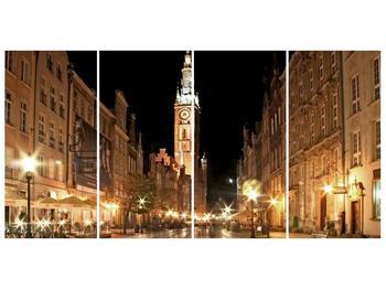 Obraz noční ulice s věží (F002338F16080)
