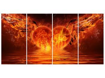 Obraz hořícího srdce s křídly  (F002884F16080)