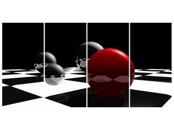 Obraz čtyř koulí na šachovnici - červená (F004098F16080)