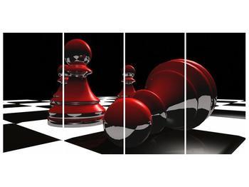 Obraz červených pěšců na šachovnici (F004102F16080)