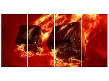 Moderní obraz hořících herních kostek (F004319F16080)