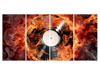 Tablou cu placă de gramofon în foc (K011171K16080)
