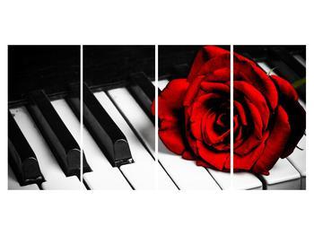 Zongora és egy rózsa képe (K011229K16080)