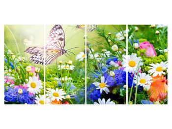 Obraz letných kvetov s motýľom (K012220K16080)