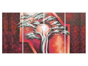 Tablou oriental roșu cu pom și soare (K014068K16080)