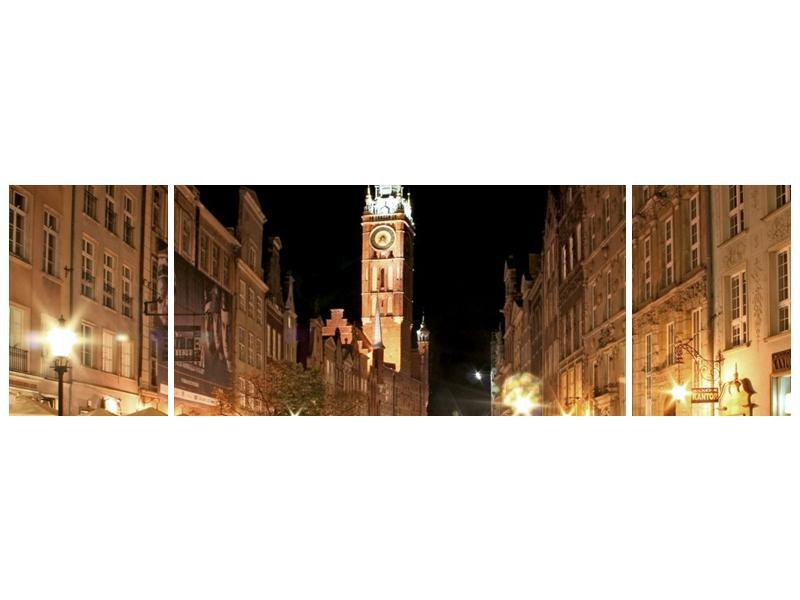 Obraz noční ulice s věží (F002338F17050)