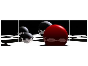 Obraz čtyř koulí na šachovnici - červená (F004098F17050)