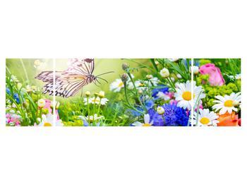 Obraz letných kvetov s motýľom (K012220K17050)