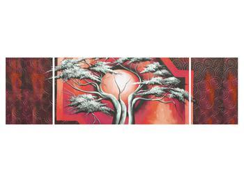 Tablou oriental roșu cu pom și soare (K014068K17050)