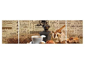 Obraz kávy, mlýnku a croissantů (K014713K17050)