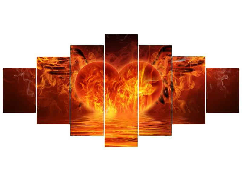 Obraz hořícího srdce s křídly  (F002884F210100)