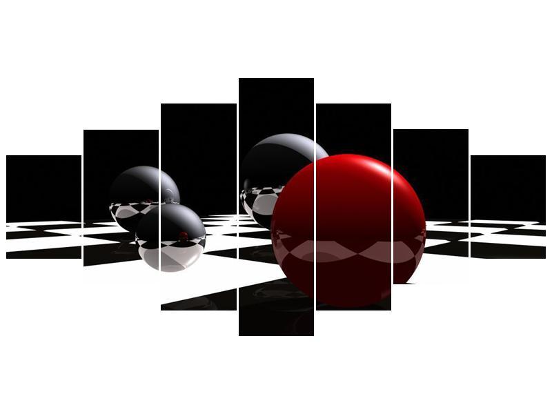 Obraz čtyř koulí na šachovnici - červená (F004098F210100)
