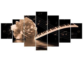 Černobílý obraz růže a klavíru (F001875F210100)