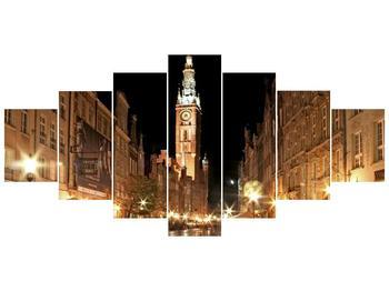 Obraz noční ulice s věží (F002338F210100)