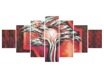 Tablou oriental roșu cu pom și soare (K014068K210100)