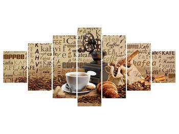 Obraz kávy, mlýnku a croissantů (K014713K210100)