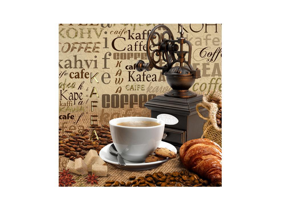 Obraz kávy, mlýnku a croissantů (K014713K3030)