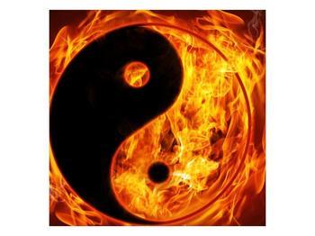 Obraz hořícího jin jang (F002309F3030)