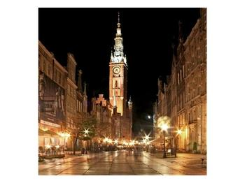 Obraz noční ulice s věží (F002338F3030)