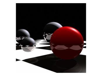 Obraz čtyř koulí na šachovnici - červená (F004098F3030)