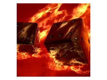 Moderní obraz hořících herních kostek (F004319F3030)