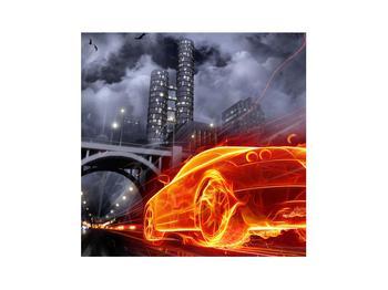 Tablou cu mașina arzând (K011167K3030)