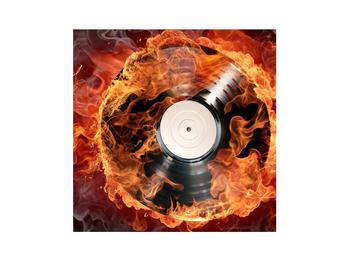 Tablou cu placă de gramofon în foc (K011171K3030)
