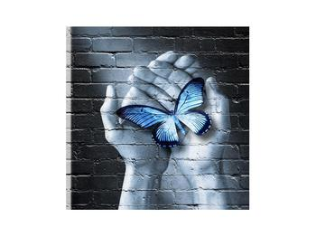Moderný obraz dlaní s motýľom (K012333K3030)