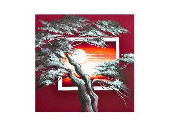 Moderní obraz stromu a východu slunce (K014022K3030)