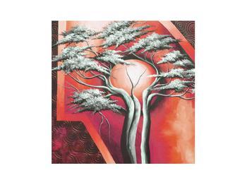 Tablou oriental roșu cu pom și soare (K014068K3030)
