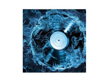 Tablou cu placă de gramofon în foc albastru (K014442K3030)