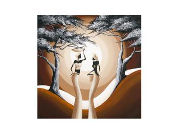 Orientální obraz dvou žen a stromu  (K014682K3030)