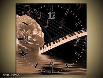 Černobílý obraz růže a klavíru (F001875F3030C)