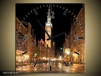 Obraz noční ulice s věží (F002338F3030C)