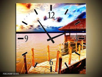 Obraz dřevěné přístavby na vodě (F002408F3030C)