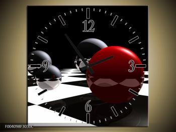 Obraz čtyř koulí na šachovnici - červená (F004098F3030C)
