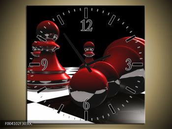 Obraz červených pěšců na šachovnici (F004102F3030C)