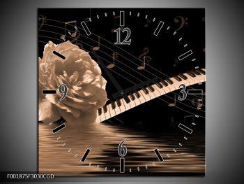 Černobílý obraz růže a klavíru (F001875F3030CGD)
