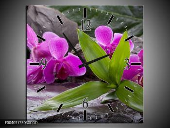 Obraz fialových orchidejí s listím (F004027F3030CGD)