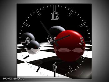 Obraz čtyř koulí na šachovnici - červená (F004098F3030CGD)