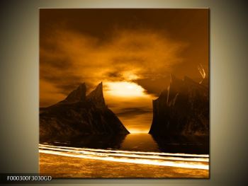 Obraz skály a pláže (F000300F3030GD)